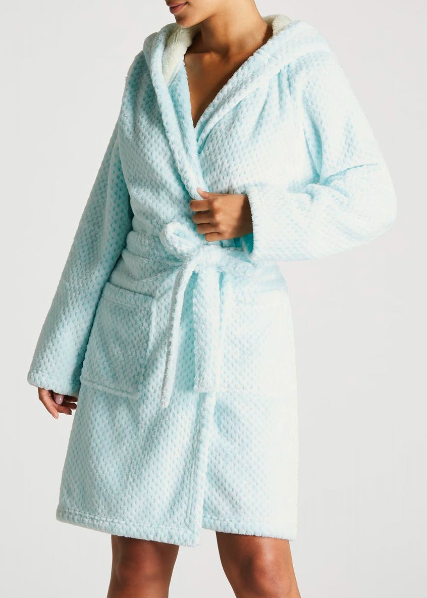 Honeycomb Textured Short Dressing Gown