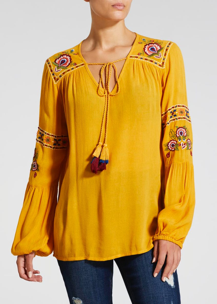 Embroidered Balloon Sleeve Blouse