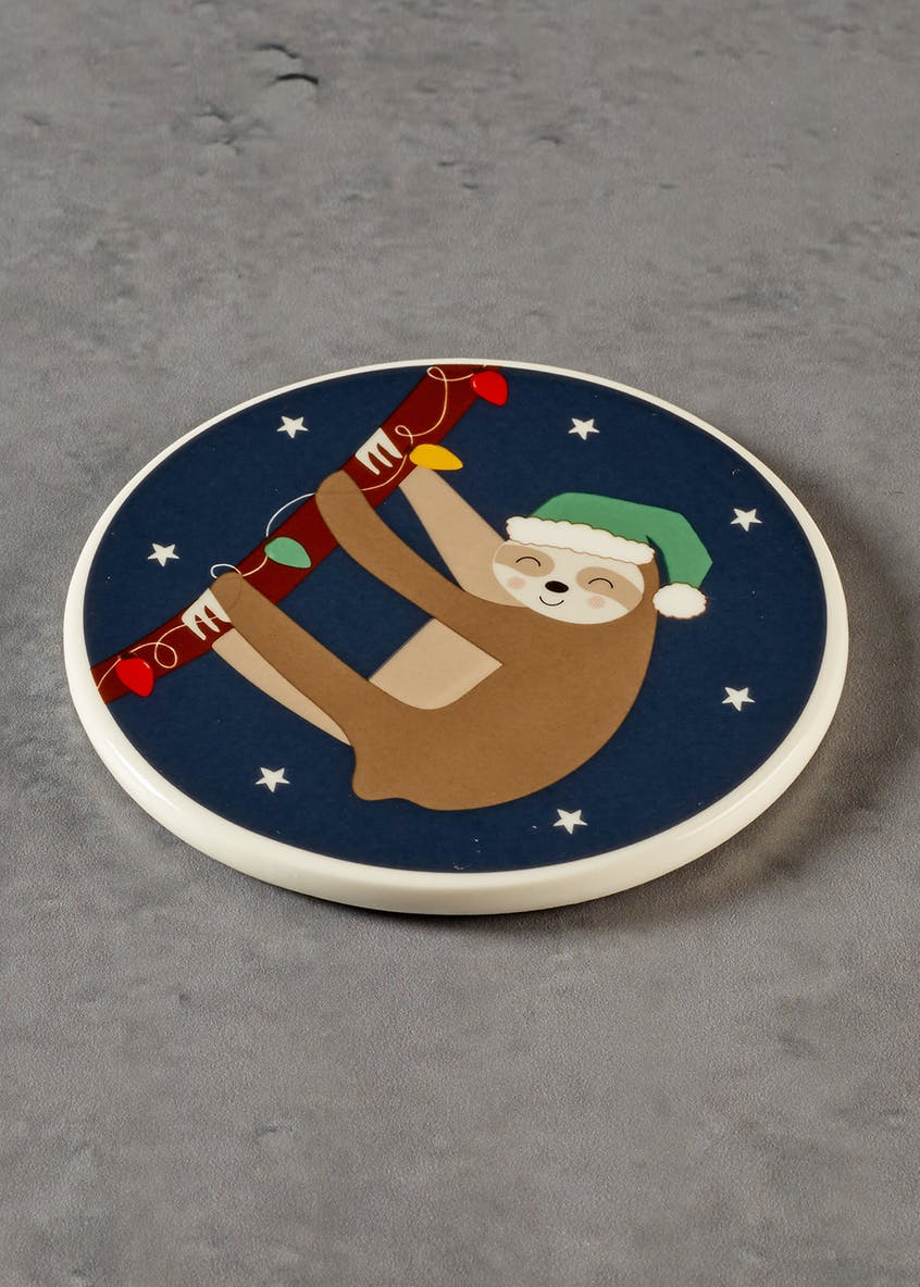 Sloth Christmas Coaster (10cm)