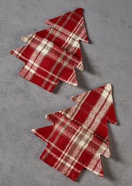 2 Pack Tartan Christmas Cutlery Holders (21cm)