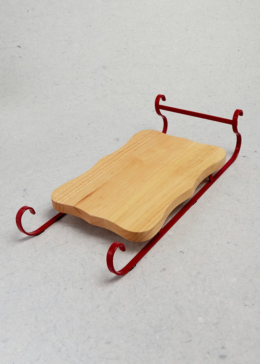 Christmas Wooden Serving Sleigh (42cm x 18cm)