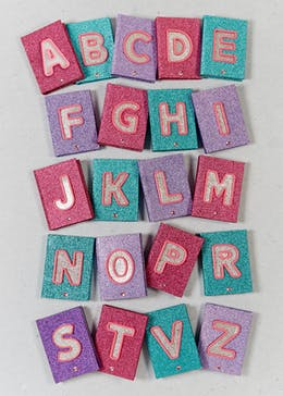 LED Alphabet Glitter Notebook (21cm x 15cm x 3cm)