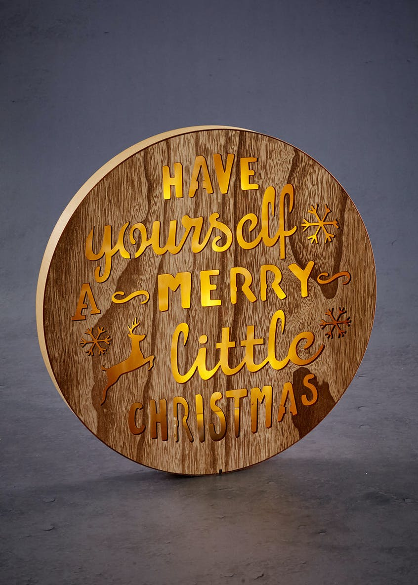 LED Wooden Round Christmas Plaque (29cm)