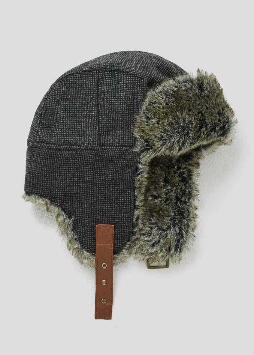 Faux Fur Lined Jacquard Trapper Hat