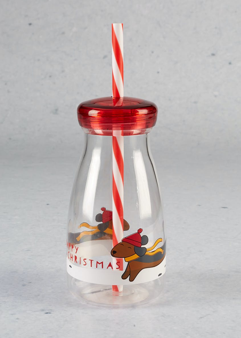 Christmas Water Bottle & Straw (19cm)