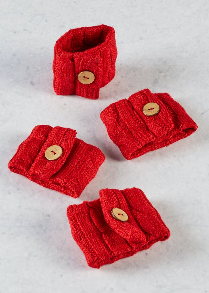 4 Pack Knitted Napkin Rings (7cm x 5cm)