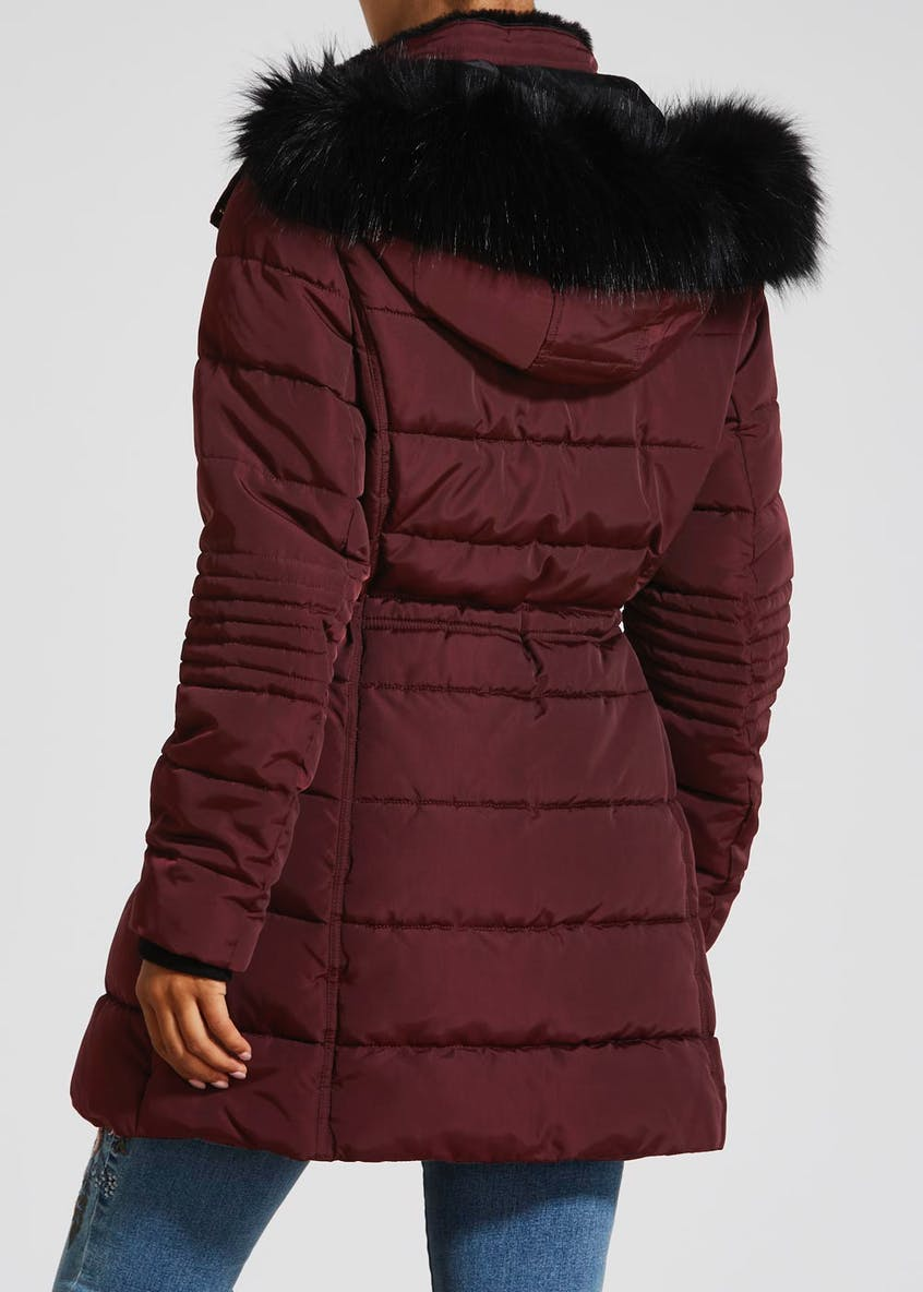 Faux Fur Hood Long Padded Coat
