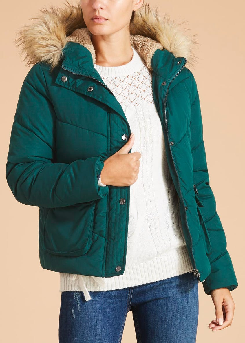 Falmer Faux Fur Hooded Fleece Lined Padded Coat