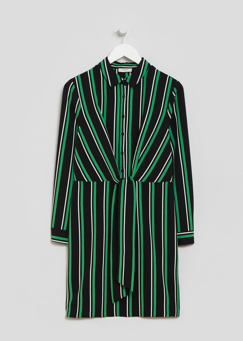 Stripe Tie Front Shirt Dress