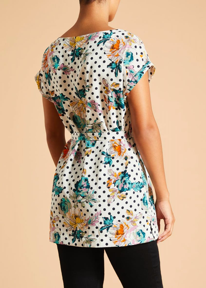 Soon Floral Polka Dot Belted Tunic