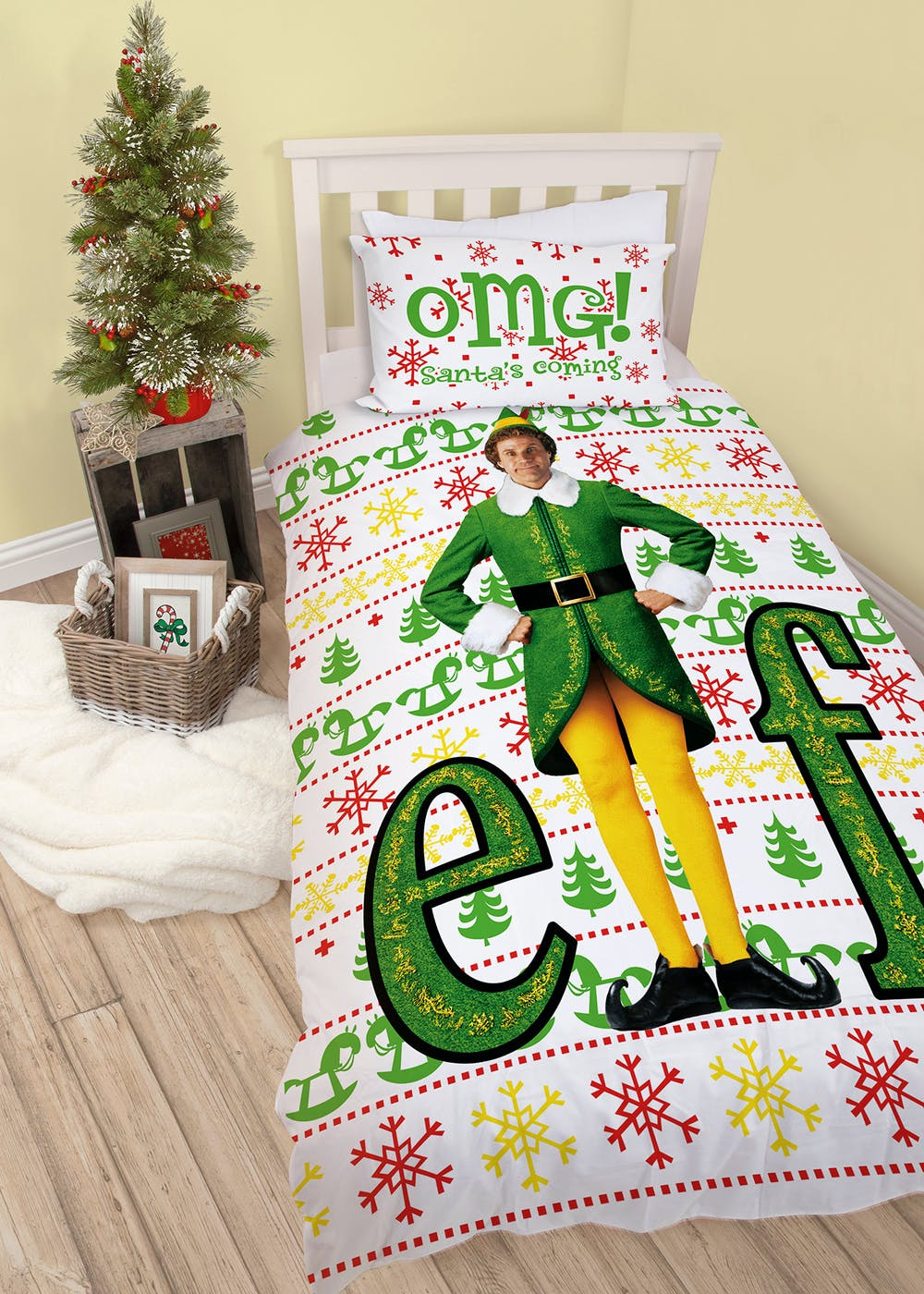 Kids Elf Christmas Bedding Set (Single) – Green – Matalan