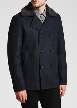 Wool Blend Borg Collar Pea Coat
