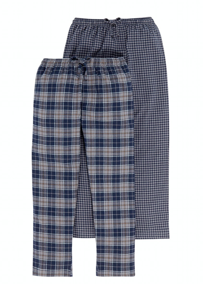 2 Pack Brushed Cotton Check Pyjama Bottoms