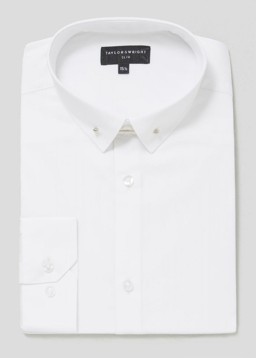 100% Cotton Slim Fit Pin Collar Shirt