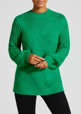 Cable Knit Balloon Sleeve Jumper
