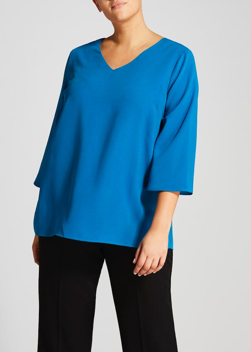 Papaya Curve Lattice Back Blouse