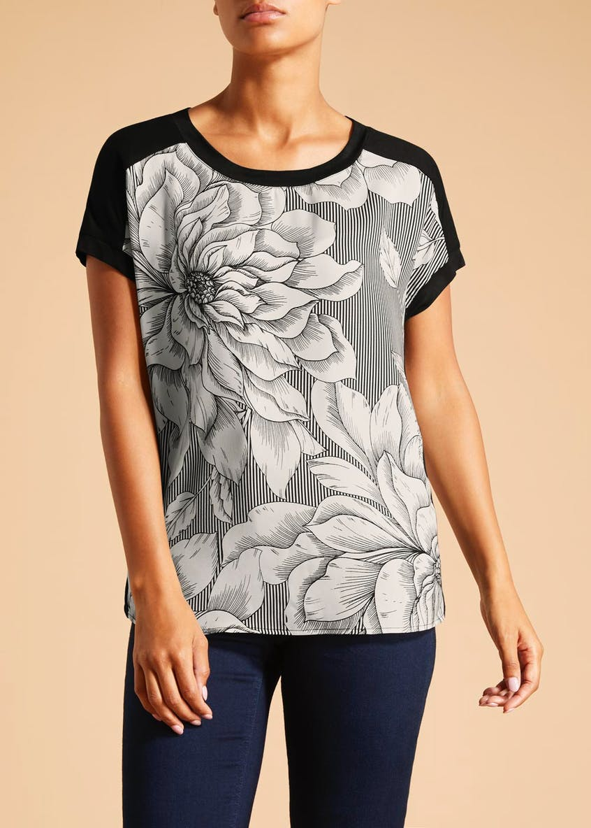 Soon Floral Stripe Satin Woven Front Top