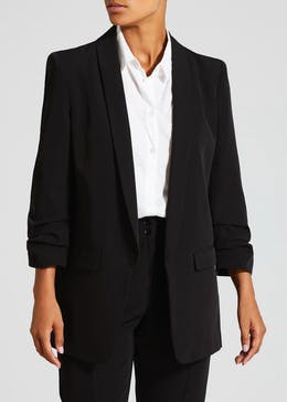 Ruched Sleeve Longline Suit Jacket