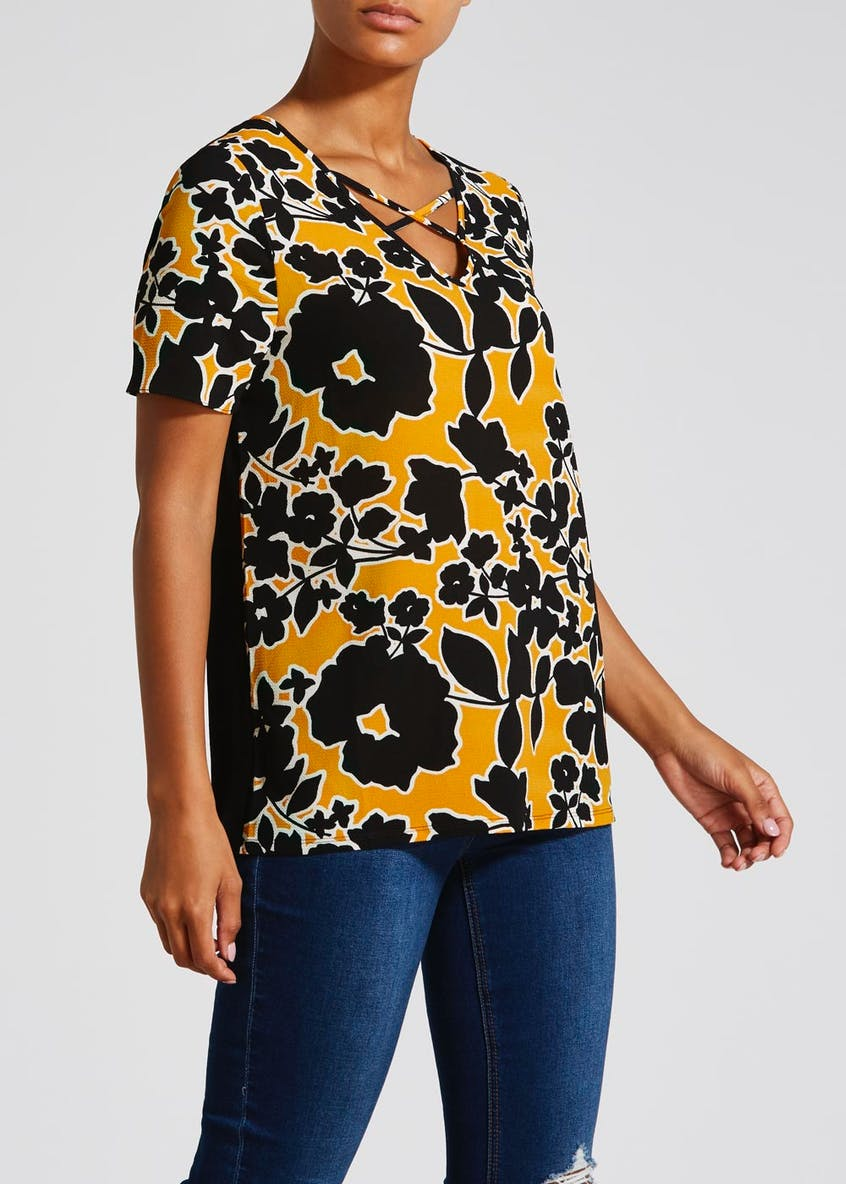 Floral Cross Front Top