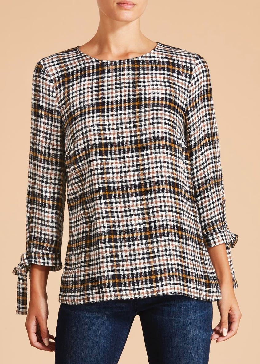 Falmer Check Tie Sleeve Blouse