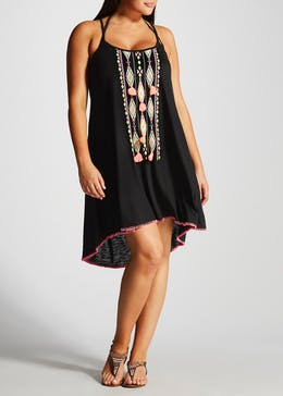 Papaya Curve Tassel Beach Dress