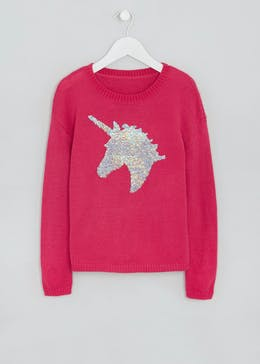 Girls Sequin Unicorn Jumper (4-13yrs)