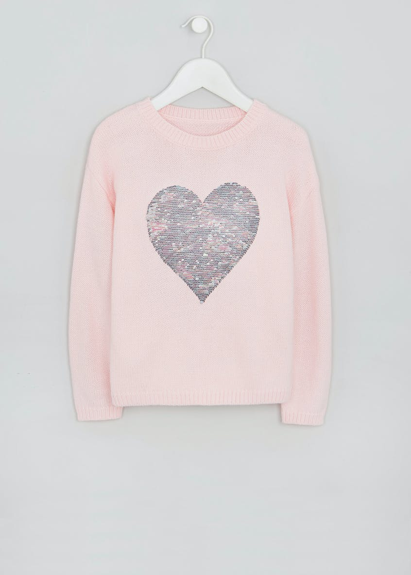 Girls Sequin Heart Jumper (4-13yrs)