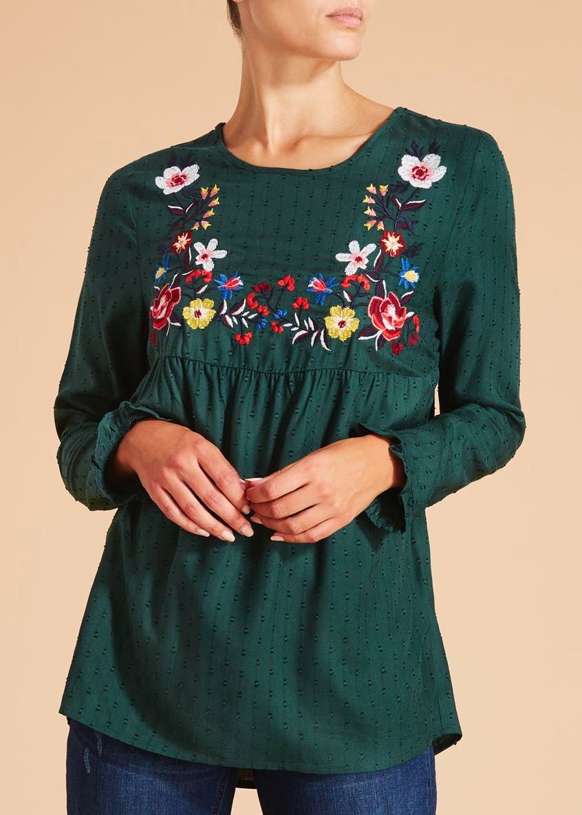 Falmer Floral Embroidered Dobby Blouse