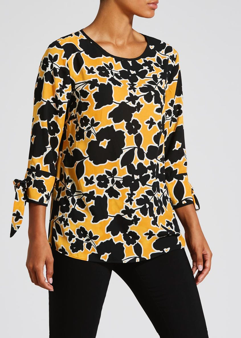 Floral Piped Tie Sleeve Blouse