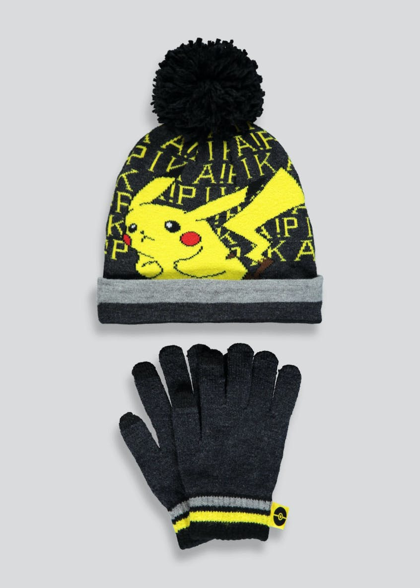 Kids Pokémon Pikachu Hat & Gloves Set (3-10yrs)