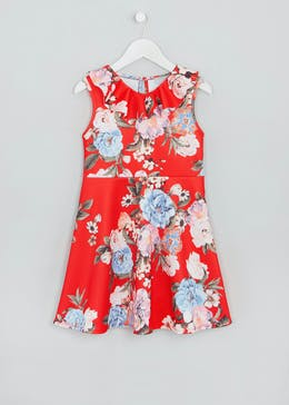 Mini Me Girls Floral Scuba Dress (4-13yrs)