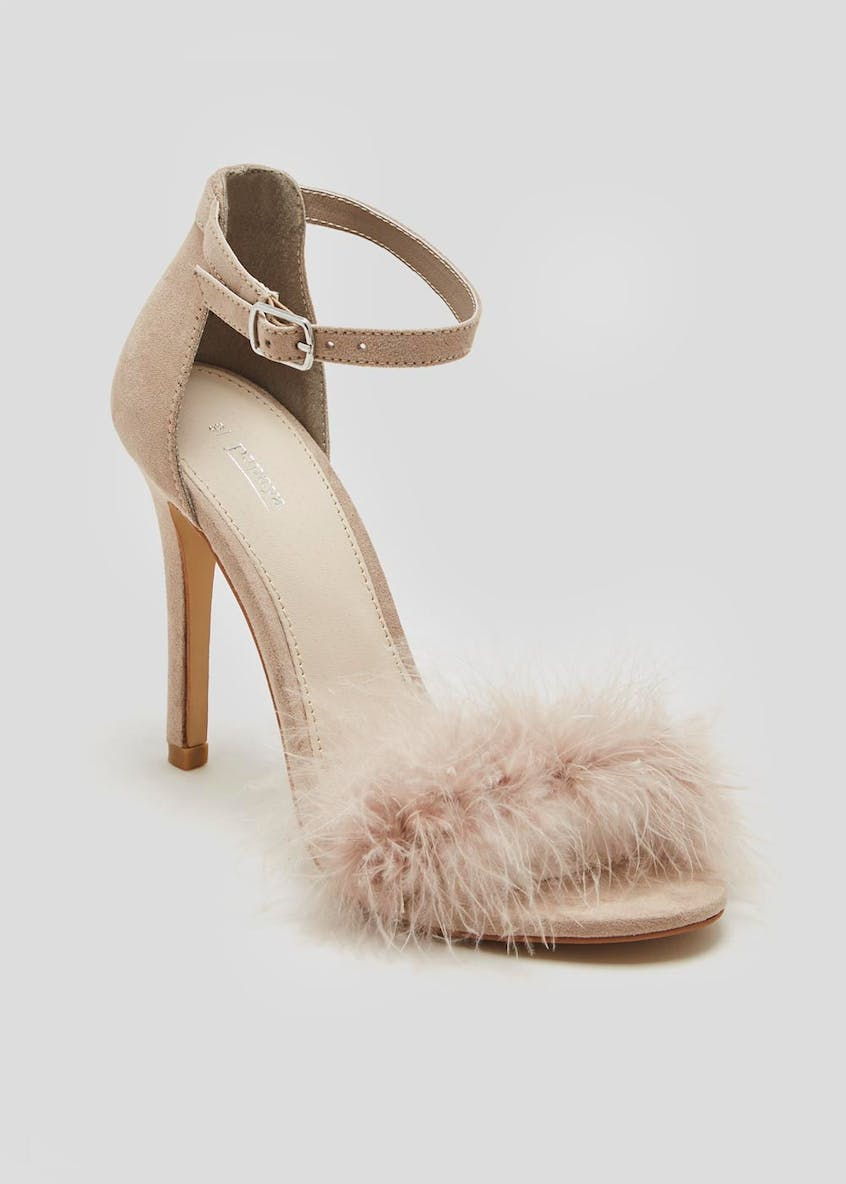 Feather Fur Trim Strappy Sandals