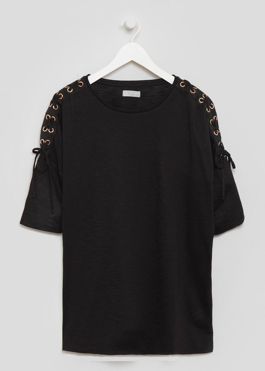 Papaya Curve Eyelet T-Shirt