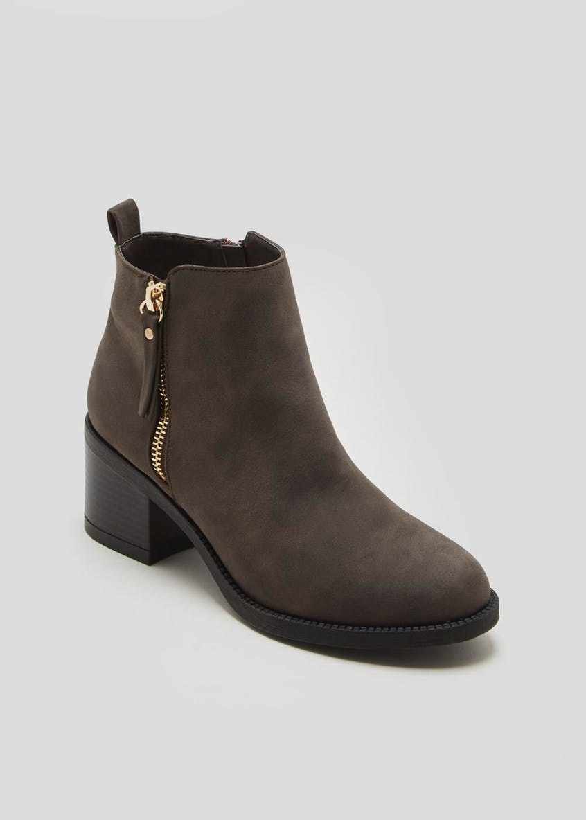 Wide Fit Faux Nubuck Block Heel Ankle Boots