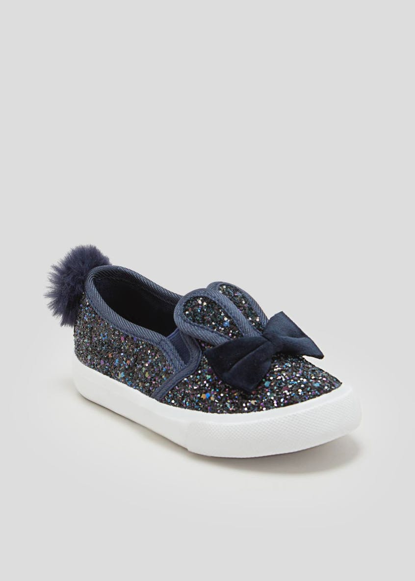 Girls Glitter Bunny Slip On Pumps (Younger 4-12)