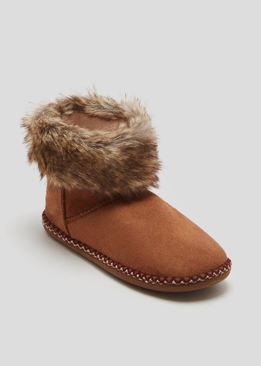 Faux Fur Trim Slipper Boots
