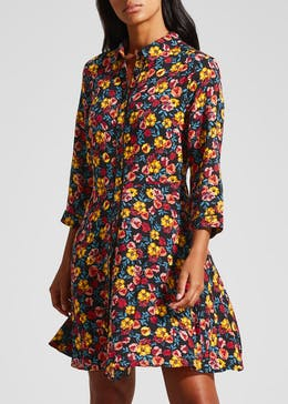 Floral Viscose Shirt Dress - Black