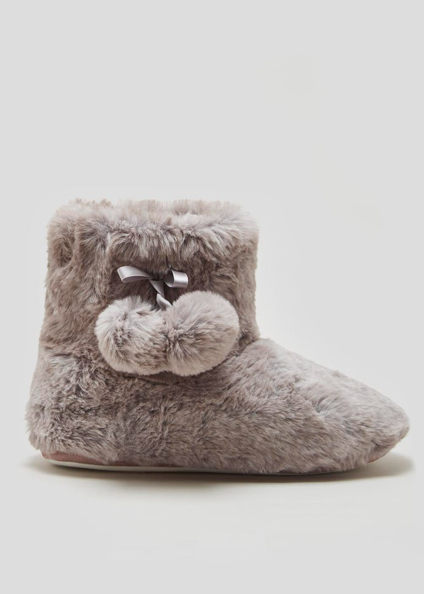Pom Pom Faux Fur Slipper Boots