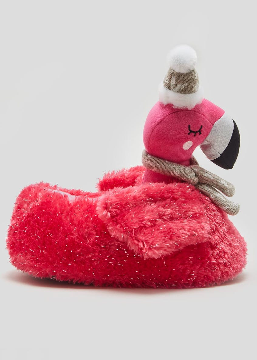 3D Flamingo Christmas Slippers