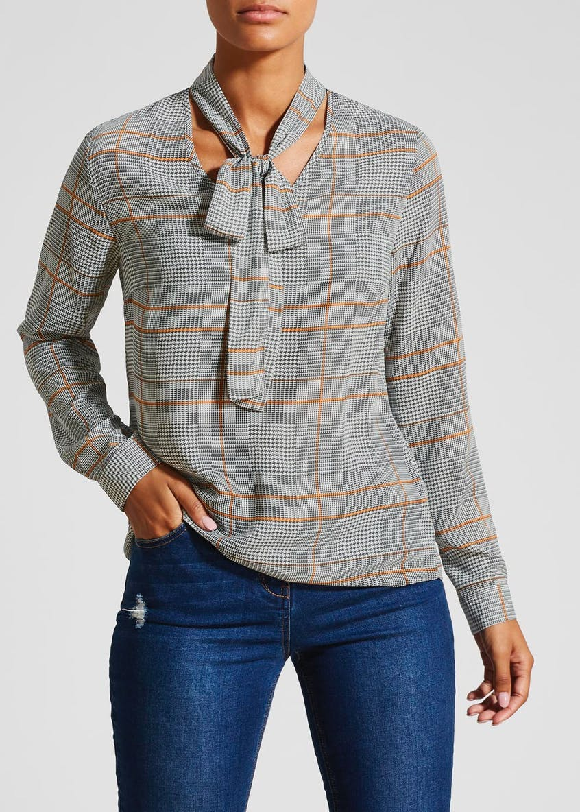 Dogtooth Check Pussybow Shirt