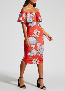 Floral Bardot Scuba Midi Dress