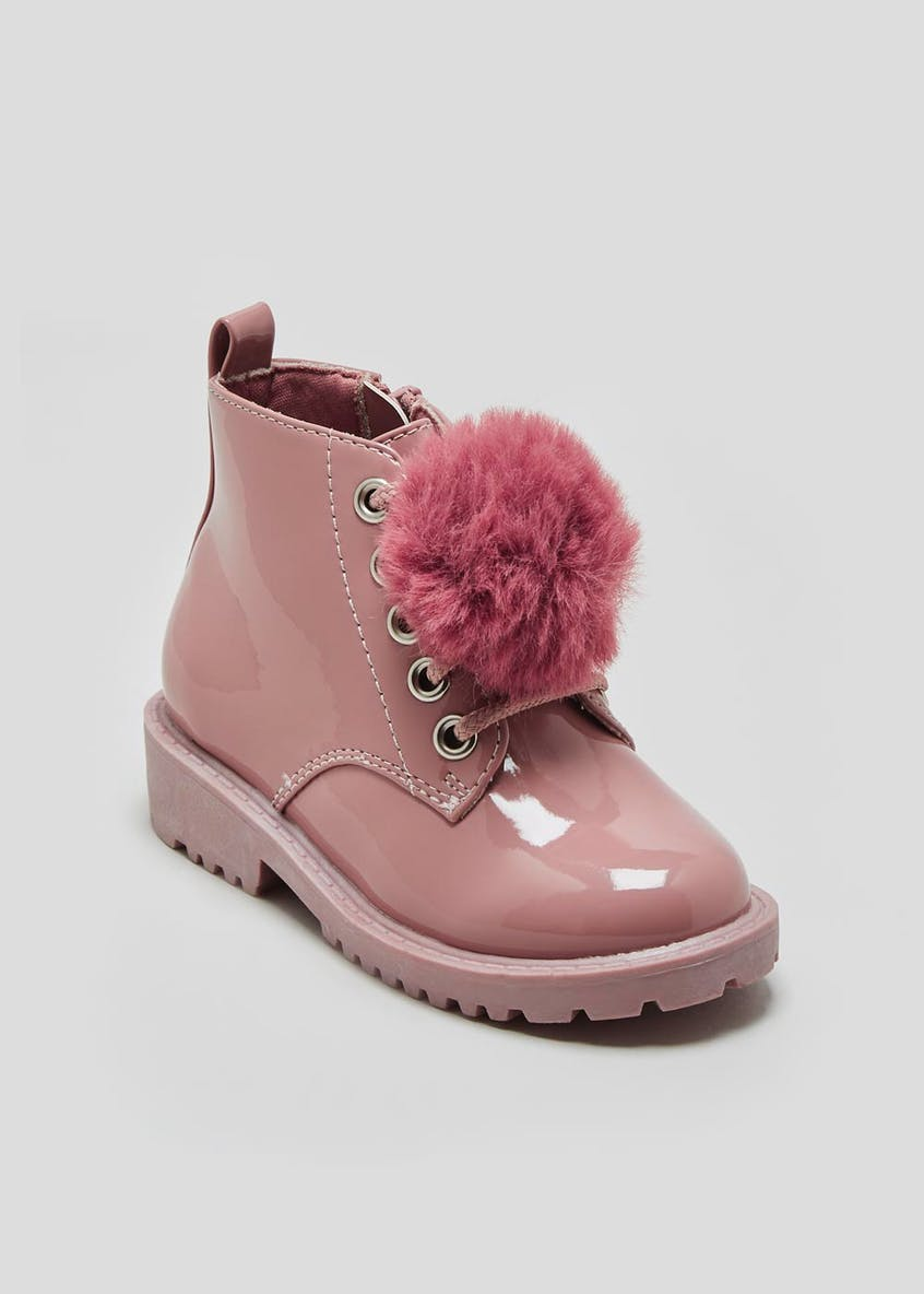 Girls Pom Pom Patent Lace Up Boots (Younger 4-12)