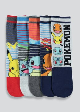 Kids Pokemon 5 Pack Socks (Younger 9-Older 3)