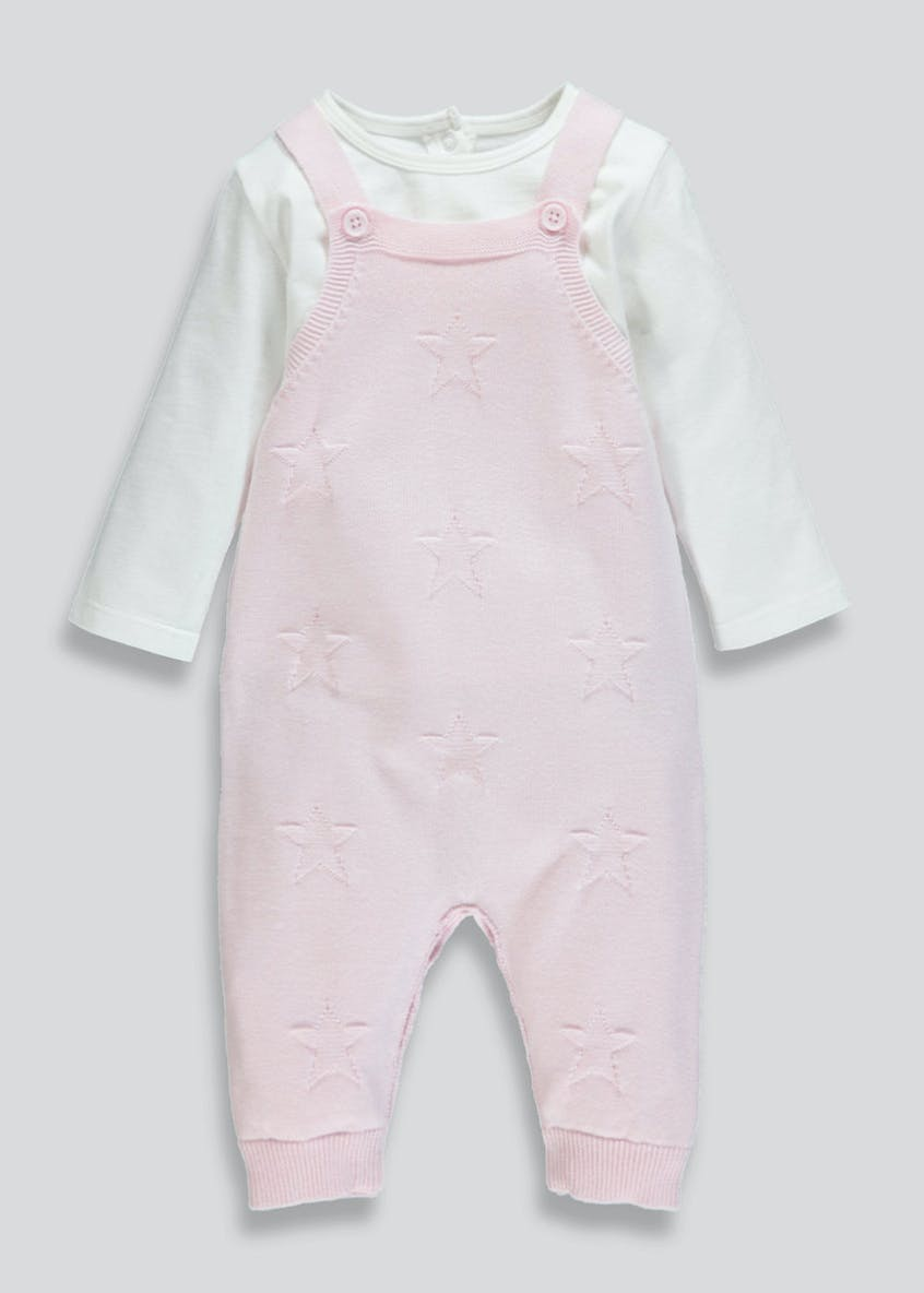 Unisex Knitted Dungarees & Bodysuit Set (Tiny Baby-12mths)