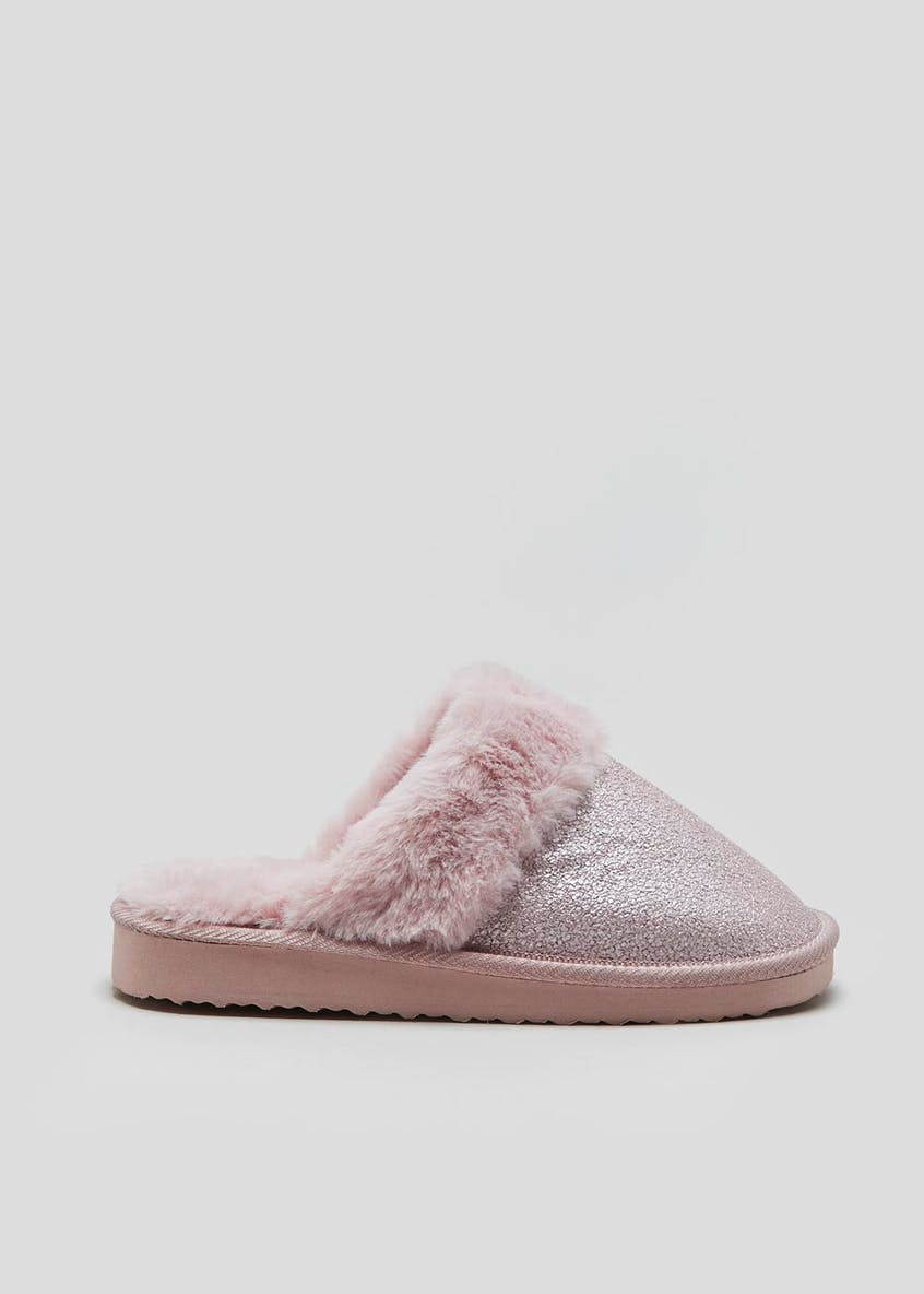 Girls Faux Fur Lined Mule Slippers (Younger 10-Older 5)