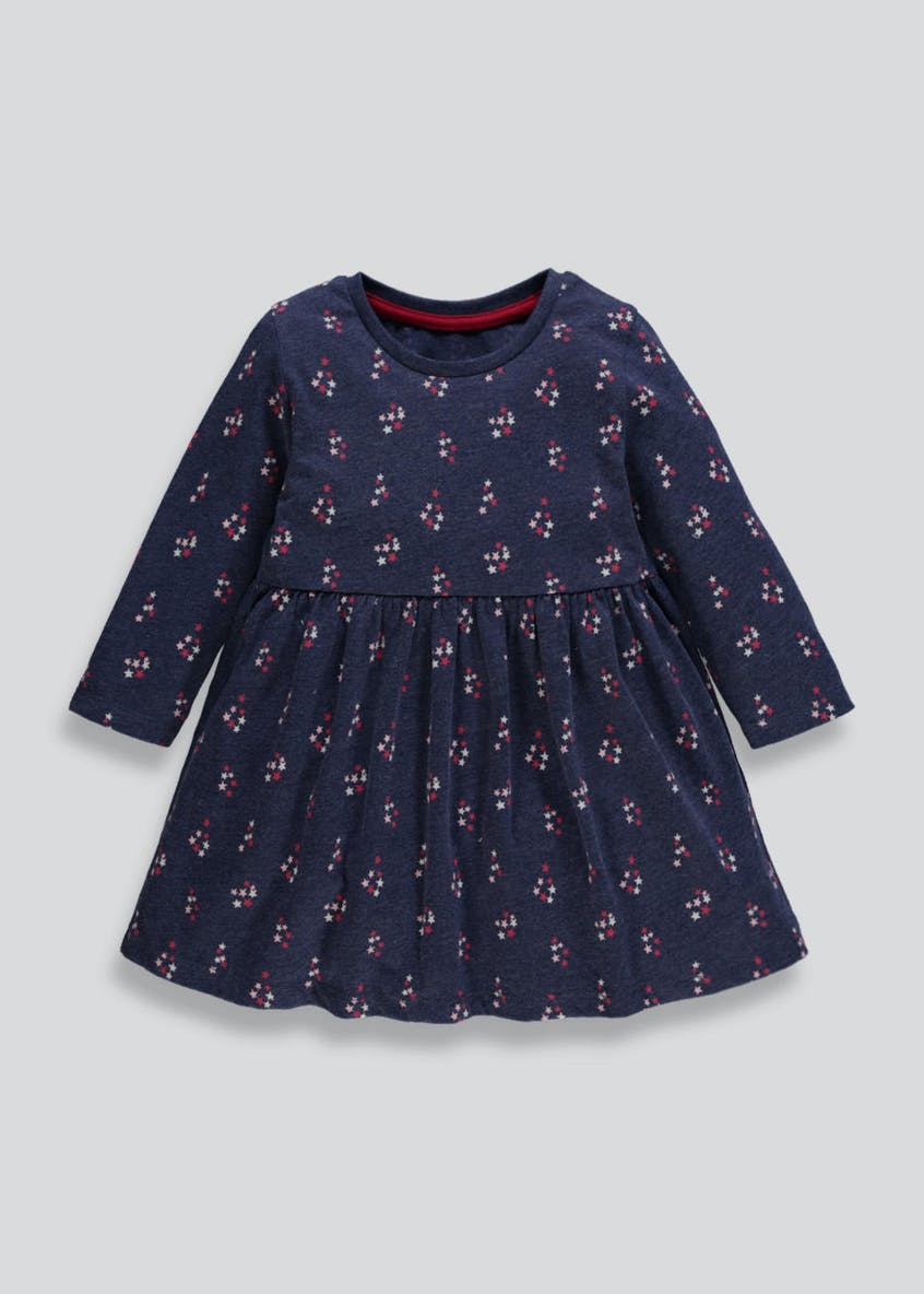 Girls Star Long Sleeve Jersey Dress (3mths-6yrs)