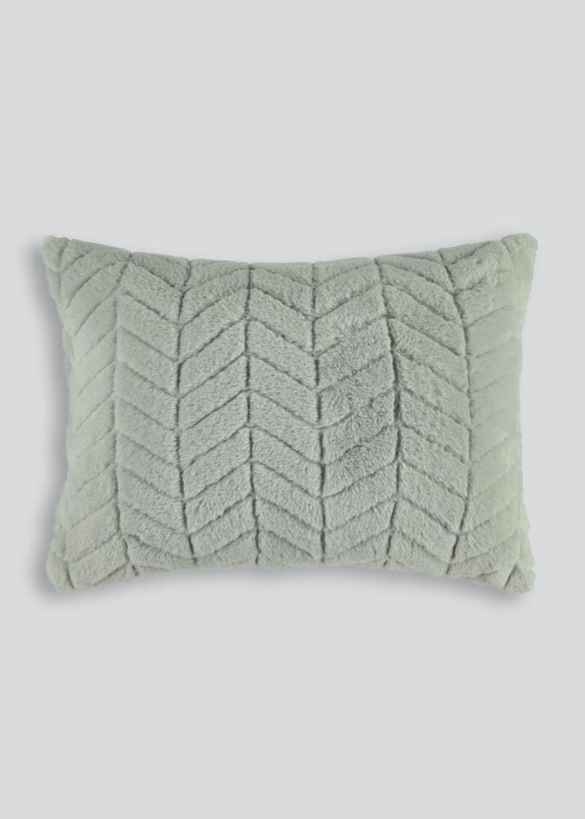 Chevron Stripe Faux Fur Cushion (40cm x 30cm)