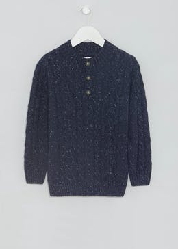 Boys Button Nec k Knit Jumper (4-13yrs)