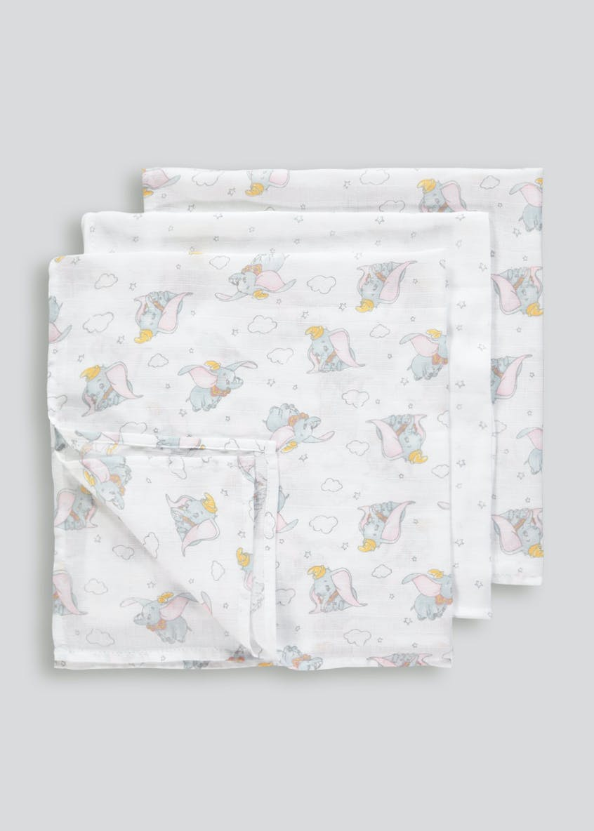 3 Pack Disney Dumbo Muslin Squares (One Size)