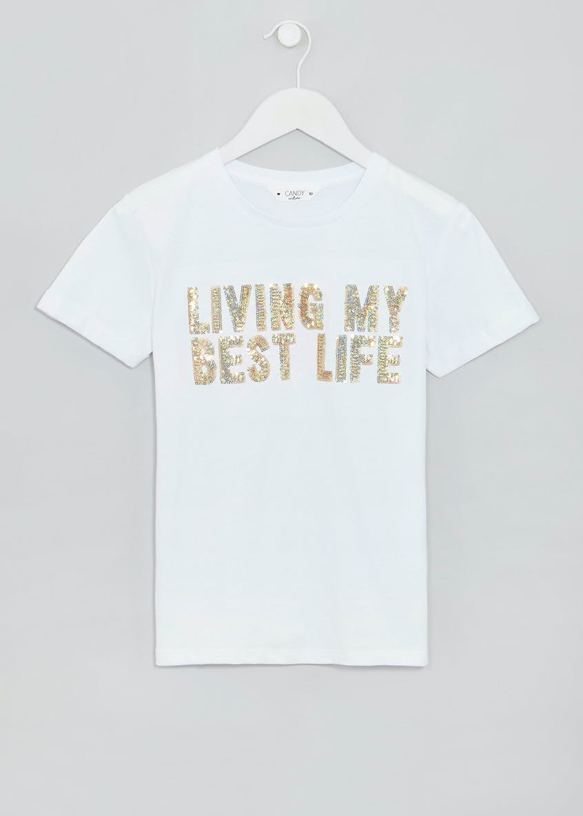 Girls Candy Couture Best Life Slogan T-Shirt (9-16yrs)